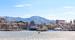 Panoramic view of the Port of Genoa, Italy seen from the Medite Stock Photography