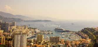 Panoramic view of Port Hercule in Monaco in a summer day. Cote d`Azur French Riviera is situated in the southern eastern part of the mediterranean coast of royalty free stock photos