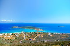 Panoramic view of the port of Kythera with the the ship wreck `Nordland`, Diakofti Kythera Royalty Free Stock Photos