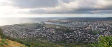 Panoramic view of Port Louis. Bird's eye view from Signal Mountain Stock Photos