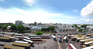Panoramic view of Port Louis bus station. Harbor bus station panorama in Port Louis, Mauritius Stock Images