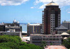 Panoramic view of Port Louis by the sea. Harbor panorama in Port Louis, Mauritius Royalty Free Stock Photography