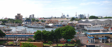 Panoramic view of Port Louis by the sea Royalty Free Stock Images