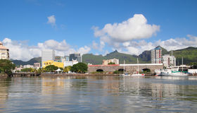 Panoramic view of Port Louis by the sea. City and mountain view of Port Louis by the sea Royalty Free Stock Photo