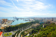 Panoramic view of the port of Malaga and the City Hall, Andalusia, Spain Royalty Free Stock Photo