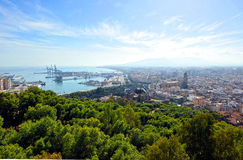 Panoramic view of the port of Malaga and the Cthedral, Andalusia, Spain Royalty Free Stock Photography