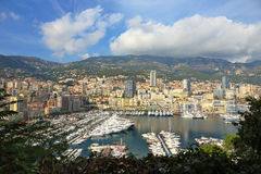 Panoramic view of the port in Monte Carlo, Monaco. Stock Photos