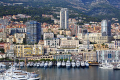 Panoramic view of the port in Monte Carlo, Monaco. Stock Images