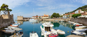 Panoramic view of the port, Nafpaktos, Greece Royalty Free Stock Images
