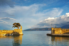 Panoramic view of the port of Nafpaktos town, Greece Stock Photos