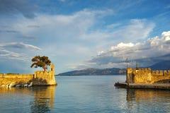 Panoramic view of the port of Nafpaktos town, Greece Stock Photos