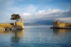 Panoramic view of the port of Nafpaktos town, Greece Royalty Free Stock Photo