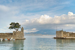 Panoramic view of the port of Nafpaktos town, Greece Stock Photography