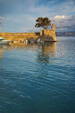 Panoramic view of the port of Nafpaktos town, Greece Stock Image