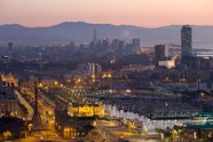 Panoramic view of Port Vell and La Barceloneta district. Barcelo