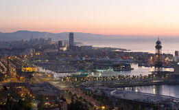 Panoramic view of Port Vell and La Barceloneta district. Barcelo Royalty Free Stock Photos