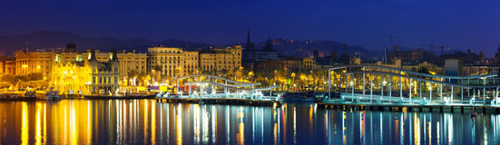 Panoramic view of  Port Vell during morning. Barcelona Royalty Free Stock Photos
