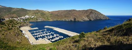 Panoramic view of Portbou bay in the Costa Brava Stock Photography