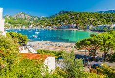 Panoramic view of Porte de Soller, Palma Mallorca, Spain. Panoramic view of Porte de Soller, Palma Mallorca island, Spain Stock Photos