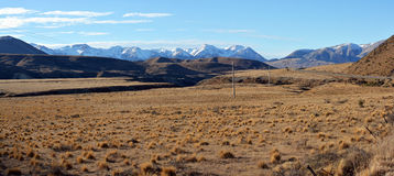 Panoramic view of Porters Pass & Castle Hill in Spring, New Zeal royalty free stock photography