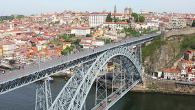 Panoramic view of Porto city, Portugal. Panoramic view of Porto city with Douro river and Dom Luis I bridge at sunny summer day, Portugal stock video
