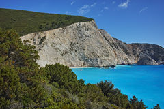 Panoramic view of Porto Katsiki Beach Royalty Free Stock Photography