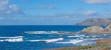 Panoramic view of Porto Palmas. Blue wavy sea in Porto Palmas Stock Image
