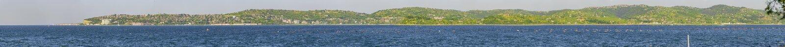 Panoramic view of Portoroz. Coast, Slovenia, Istria Royalty Free Stock Images