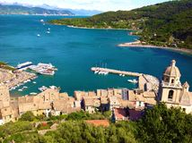 Panoramic view of Portovenere. Liguria-Italy with gulf Royalty Free Stock Image