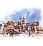 The panoramic view of Portugal  watercolor Royalty Free Stock Image