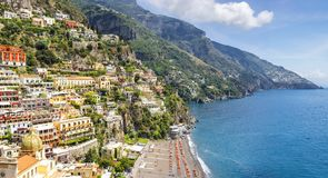 Panoramic view on Positano on Amalfi coast, Campania, Italy Royalty Free Stock Images