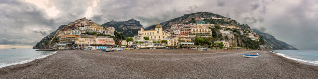 Panoramic view of Positano on Amalfi coast in Italy Stock Photography