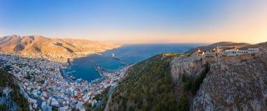 Panoramic view of Pothia Town, capital of Kalymnos, Greece royalty free stock photo