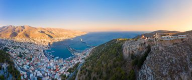 Panoramic view of Pothia Town, capital of Kalymnos, Greece royalty free stock photo