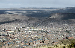 Panoramic view of Potosi (UNESCO) surrounded by the Andes Mountain in Bolivia Royalty Free Stock Photo