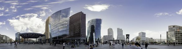 Panoramic view of the Potsdamer Platz square, with views of the different modernist buildings and skyscrapers of Berlin. Panoramic view of the Potsdamer Platz royalty free stock images