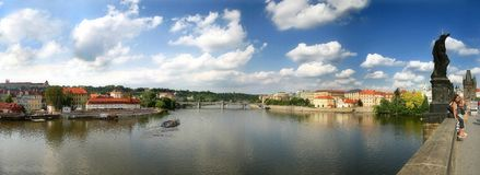 Panoramic view of Prague. Panoramic view on Vltava River and old part of Prague as seen from famous Charles Bridge in Prague, Czech Republic Royalty Free Stock Photography