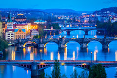 Panoramic view of Prague bridges over Vltava river Stock Photos