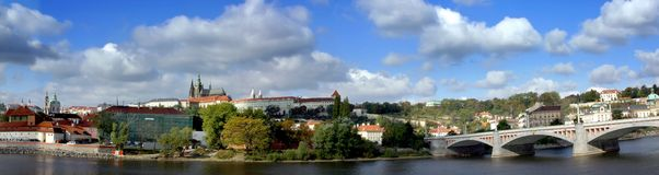 Panoramic View of the Prague Castle Stock Photos