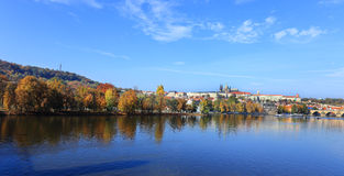 Panoramic View on Prague with the Castle Stock Image