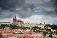 Panoramic view of Prague Castle from Clock Tower Stock Images