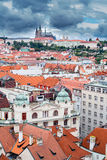 Panoramic view of Prague Castle from Clock Tower Stock Photo