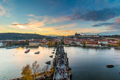 Panoramic view of Prague Castle and Lesser Town from Lesser Town Bridge Tower (Charles Bridge) Royalty Free Stock Images