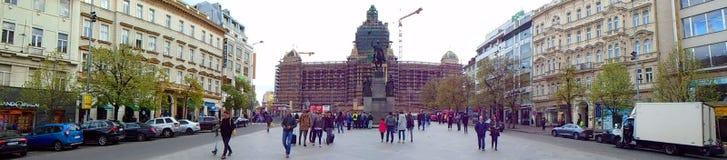 Panoramic view of Prague Wenceslas Square, National Museum and St. Wenceslas Statue Stock Photos