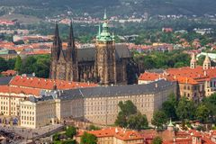 Panoramic view of Prague castle, St. Vitus Cathedral and old town from above, Czech Republic. Panoramic view of Prague castle, St. Vitus Cathedral and old town royalty free stock photo