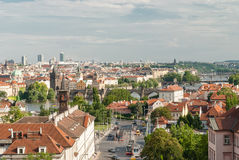 Panoramic view of Prague from the castle zone,Czech Republic. Karlov most and other bridges on Moldava, Prague Stock Images