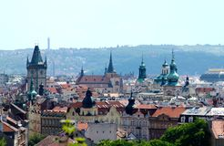 Panoramic view of Prague center. And Old Town Square on a sunny day Royalty Free Stock Photography