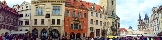 Panoramic view of Prague Old Town Square and in the background church Mothers of God Royalty Free Stock Photography