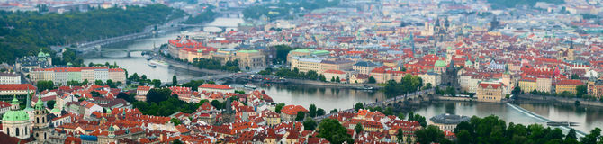 Panoramic view of Prague city Royalty Free Stock Image