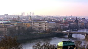 Panoramic view of Prague cityscape stock footage
